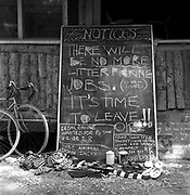 'No more jobs' notice board, at Glastonbury, 1989.