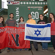A delegation from Northeastern University poses for a phot during Fenway Park's Jewish Heritage Night at the game between the Atlanta Braves and the Boston Red Sox at Fenway Park on May 29, 2014 in Boston, Massachusetts. (Photo by Elan Kawesch/Times of Israel)