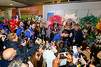 Animation Bresil pour les JO 2016 - 02.02.2015 - Equipe de France de Handball - Retour Championnats du Monde 2015 - Aeroport Roissy CDG -Paris<br /> Photo : Cohen / Visual / Icon Sport