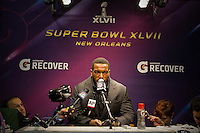 3 February 2013: Linebacker (52) Patrick Willis of the San Francisco 49ers speaks to the media after being defeated by the Baltimore Ravens 34-31 in Superbowl XLVII at the Mercedes-Benz Superdome in New Orleans, LA.