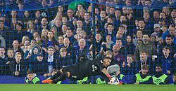 LIVERPOOL, ENGLAND - Tuesday, October 27, 2015: Everton's goalkeeper Joel Robles saves Norwich City's third penalty in the 4-3 penalty shoot-out victory after a 1-1 draw with Norwich City during the Football League Cup 4th Round match at Goodison Park. (Pic by David Rawcliffe/Propaganda)
