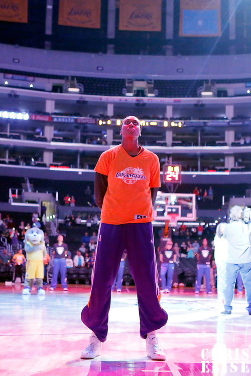 17 June 2014: Los Angeles Sparks forward/center Sandrine Gruda (7) is seen during the national anthem prior to the Minnesota Lynx  94-77 victory over the Los Angeles Sparks, at the Staples Center, Los Angeles, California, USA.