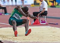 Athletics - 2017 IAAF London World Athletics Championships - Day One<br /> <br /> Event: Men's Long Jump Qualifying<br /> <br /> Luvo Manyonga lands his qualifying jump  <br /> <br /> COLORSPORT/DANIEL BEARHAM