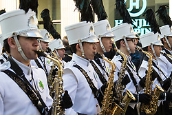 London, March 13th 2016. The annual St Patrick's Day Parade takes place in the Capital with various groups from the Irish community as well as contingents from other ethnicities taking part in a procession from Green Park to Trafalgar Square.  PICTURED: Members of the Coppell High School Marching band from Texas take part in the procession. ©Paul Davey<br /> FOR LICENCING CONTACT: Paul Davey +44 (0) 7966 016 296 paul@pauldaveycreative.co.uk
