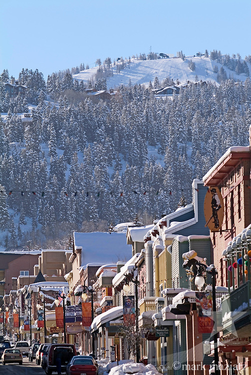 Deer Valley's Bald Mountain over Park City's Historic Main Street