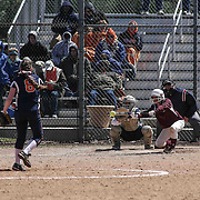 Caravel Academy Outfielder Grace Walker (2) attempts to put down a bunt during a varsity scheduled game between Caravel Academy and The Delmar Wildcats Saturday, April 4, 2015, at Caravel Athletic Field in Bear Delaware.