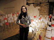 Ruth Sykes with her Field of Imaginings. AMNESTY INTERNATIONAL EXHIBITION 'IMAGINE A WORLDƒ  WITHOUT VIOLENCE AGAINST WOMEN' Bargehouse Gallery. Oxo Tower. <br />