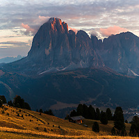 Val Gardena in Dolomite mountains before the winter