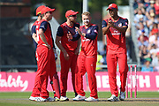 Lancashire Lightnings Matthew Parkinson  wicket  during the Vitality T20 Blast North Group match between Lancashire Lightning and Derbyshire Falcons at the Emirates, Old Trafford, Manchester, United Kingdom on 26 August 2019.