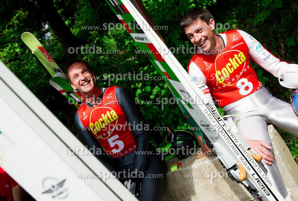 Matjaz Zupan and Marko Bogataj during ski jumping event Old Eagles - Stari Orli 2013 organised by SK Trzic - Trifix on May 18, 2013 in Sebenje pri Trzicu, Slovenia. (Photo By Vid Ponikvar / Sportida)