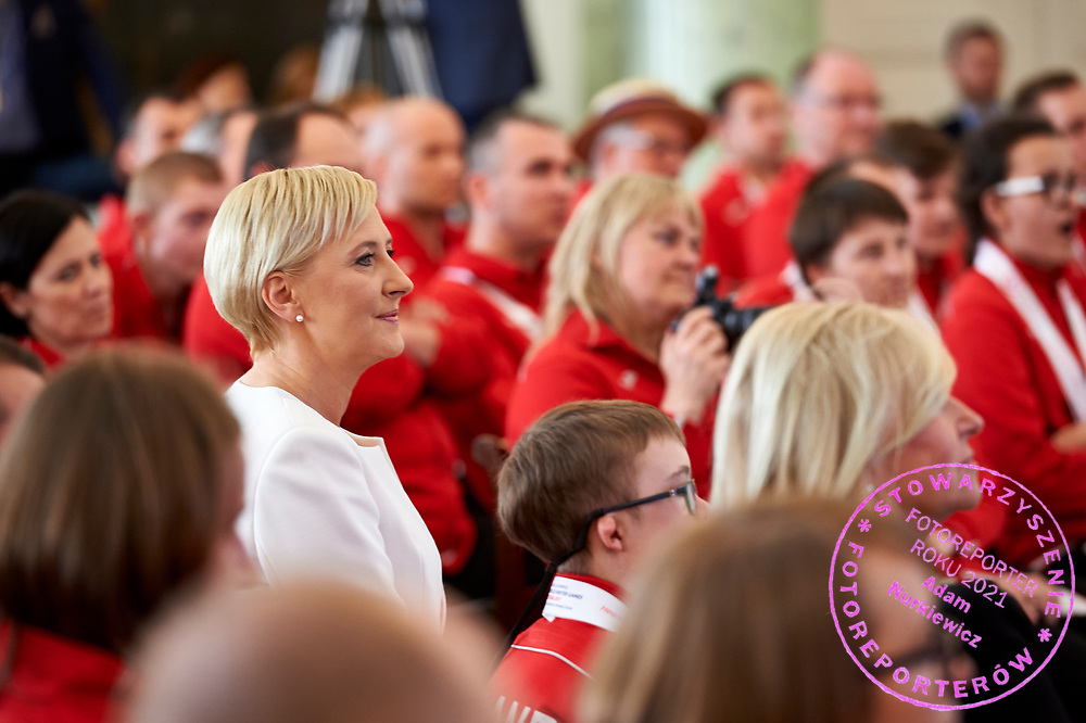 Warsaw, Poland - 2017 March 31: First Lady Agata Kornhauser-Duda looks forward while meeting with  Special Olympics athletes at Polish President's Palace on March 31, 2017 in Warsaw, Poland.<br /> <br /> Mandatory credit:<br /> Photo by © Adam Nurkiewicz / Mediasport<br /> <br /> Adam Nurkiewicz declares that he has no rights to the image of people at the photographs of his authorship.<br /> <br /> Picture also available in RAW (NEF) or TIFF format on special request.<br /> <br /> Any editorial, commercial or promotional use requires written permission from the author of image.<br /> <br /> Image can be used in the press when the method of use and the signature does not hurt people on the picture.