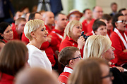 Warsaw, Poland - 2017 March 31: First Lady Agata Kornhauser-Duda looks forward while meeting with  Special Olympics athletes at Polish President's Palace on March 31, 2017 in Warsaw, Poland.<br /> <br /> Mandatory credit:<br /> Photo by &copy; Adam Nurkiewicz / Mediasport<br /> <br /> Adam Nurkiewicz declares that he has no rights to the image of people at the photographs of his authorship.<br /> <br /> Picture also available in RAW (NEF) or TIFF format on special request.<br /> <br /> Any editorial, commercial or promotional use requires written permission from the author of image.<br /> <br /> Image can be used in the press when the method of use and the signature does not hurt people on the picture.