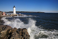 Lighthouse Amid Rough Surf On A Windy Morning At The The Portsmouth Harbor Light, New Castle, New Hampshire