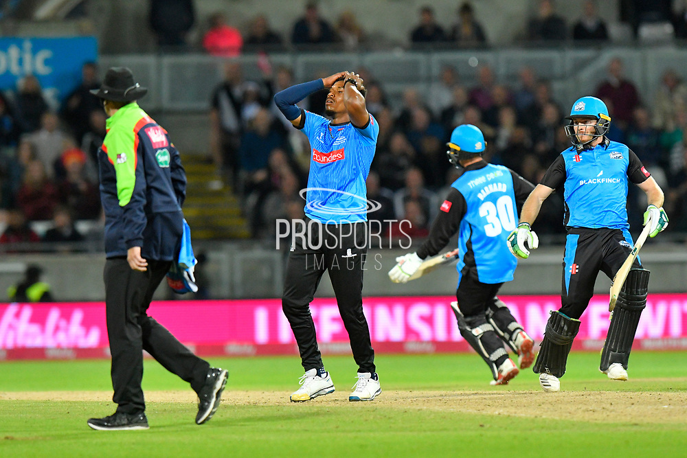 Chris Jordan of Sussex reacts as Ben Cox of Worcestershire is dropped during the final of the Vitality T20 Finals Day 2018 match between Worcestershire Rapids and Sussex Sharks at Edgbaston, Birmingham, United Kingdom on 15 September 2018.