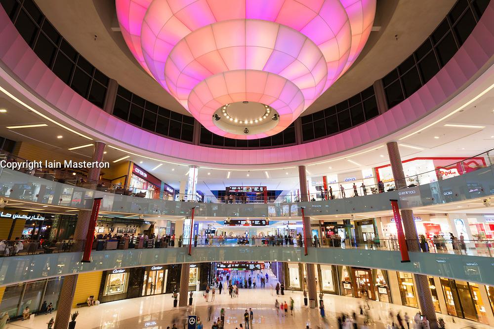 View of interior atrium  of busy Dubai Mall in United Arab Emirates UAE