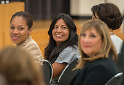Houston ISD Trustee Diana Davila listens to comments from the public to Superintendent Richard Carranza' during the first stop of his Listen & Learn Tour of the district at Gregory-Lincoln Education Center, September 14, 2016.