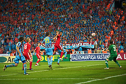 TRABZON, TURKEY - Thursday, August 26, 2010: Liverpool's David Ngog sees his header go narrowly wide of the Trabzonspor goal during the UEFA Europa League Play-Off 2nd Leg match at the Huseyin Avni Aker Stadium. (Pic by: David Rawcliffe/Propaganda)