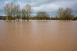 © Licensed to London News Pictures. 18/02/2020. Upton-upon-Severn, Worcestershire, UK. The rugby pitches are flooded at Upton-upon-Severn in Worcestershire, UK. Though river levels have dropped fractionally, a severe flood warning is still in force at Upton-upon-Severn, in Worcestershire, UK. Photo credit: Graham M. Lawrence/LNP
