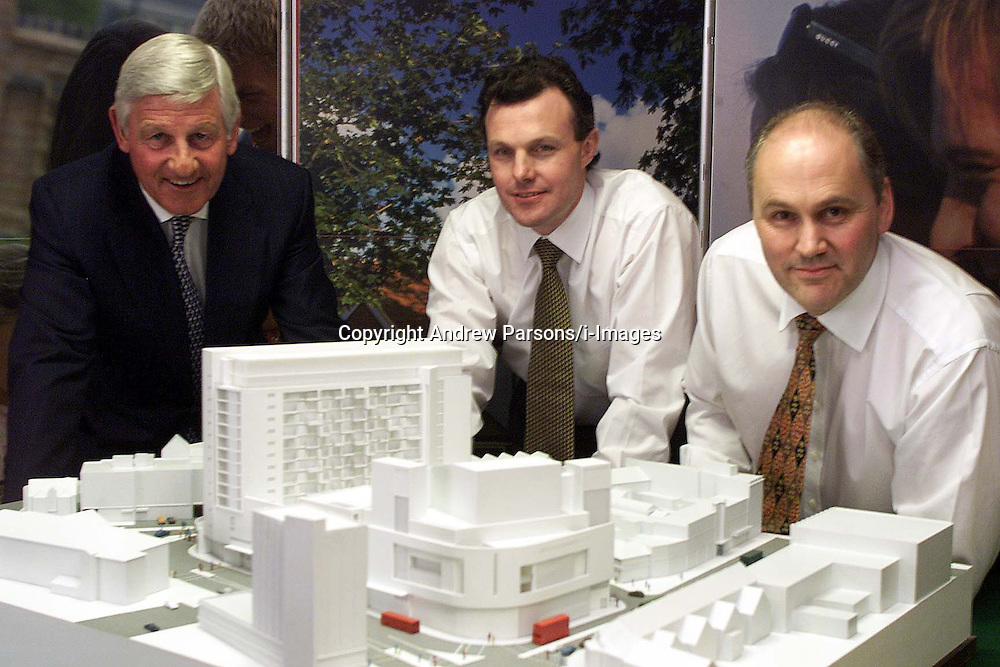 Wilson Connolly Holdings PLC. L to R: Lynn Wilson Chairman, David Lawther F.D, John Tutte M.D, with a model of their development in the city, September 4, 2000. Photo by Andrew Parsons/i-Images..