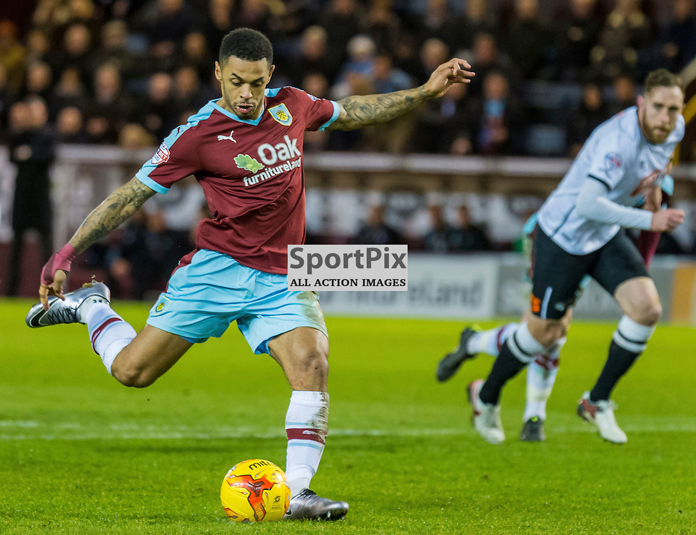 Burnley forward Andre Gray (7) scores from the penalty spot to give his side a 2-1 lead in the Championship match between Burnley and Derby County<br /> (c) John Baguley | SportPix.org.uk