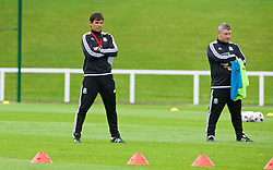 DINARD, FRANCE - Sunday, July 3, 2016: Wales' manager Chris Coleman and assistant manager Osian Roberts during a training session at their base in Dinard as they prepare for the Semi-Final match against Portugal during the UEFA Euro 2016 Championship. (Pic by David Rawcliffe/Propaganda)