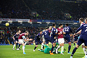 Burnley defender Ben Mee (6) heads into the goal but Referee Kevin Friend disallows the goal  during the Premier League match between Burnley and West Ham United at Turf Moor, Burnley, England on 9 November 2019.