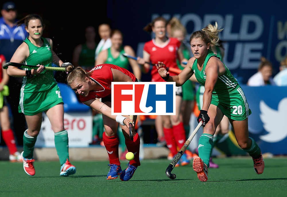 JOHANNESBURG, SOUTH AFRICA - JULY 12: Weronika Wessolowska of Poland and Chloe Watkins of Ireland battle for possession  during day 3 of the FIH Hockey World League Semi Finals Pool A match between Ireland and Poland at Wits University on July 12, 2017 in Johannesburg, South Africa. (Photo by Jan Kruger/Getty Images for FIH)