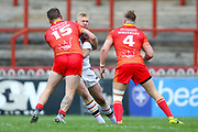 Sheffield Eagles prop Kyle Trout (15) stops Bradford Bulls loose forward Damian Sironen (10)  during the Kingstone Press Championship match between Sheffield Eagles and Bradford Bulls at, The Beaumont Legal Stadium, Wakefield, United Kingdom on 3 September 2017. Photo by Simon Davies.