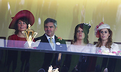 Michael and Carole Middleton with Princess's Beatrice and Eugenie in the Royal Box at   Ladies Day at  Royal Ascot, Thursday 21st  June 2012.  Photo by: Stephen Lock / i-Images