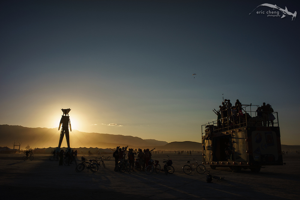 The Man, at sunset. Burning Man 2014.