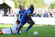 Winning Goal scored by Bayo Akinfenwa of AFC Wimbledon during the Sky Bet League 2 match between AFC Wimbledon and Notts County at the Cherry Red Records Stadium, Kingston, England on 19 September 2015. Photo by Stuart Butcher.