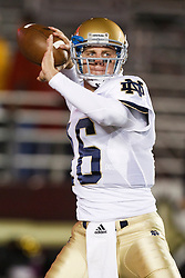 October 2, 2010; Chestnut Hill, MA, USA;  Notre Dame Fighting Irish quarterback Nate Montana (16) warms up before the game against the Boston College Eagles at the Alumni Stadium.  Notre Dame defeated Boston College 31-13.