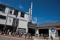 People line up outside of the Monterey Bay Aquarium, Monterey, California, United States of America