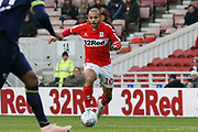Middlesbrough forward Martin Braithwaite (10)  during the EFL Sky Bet Championship match between Middlesbrough and Derby County at the Riverside Stadium, Middlesbrough, England on 27 October 2018.