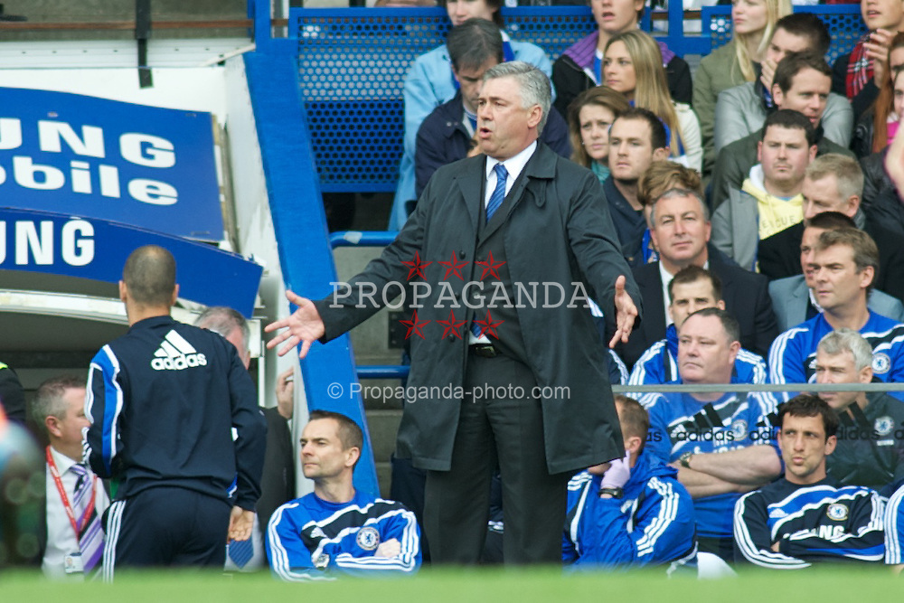 LONDON, ENGLAND - Sunday, May 9, 2010: Chelsea's Manager Carlo Ancelotti gives out the orders from the Chelsea bench during the final Premiership match of the season at Stamford Bridge. (Pic by Gareth Davies/Propaganda)