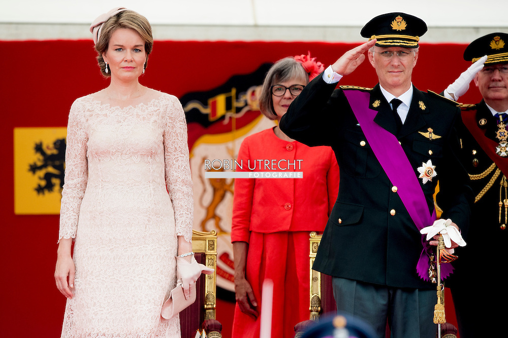 BRUSSELS - 21-7-2016 BRUSSELS, BELGIUM: Princess Claire of Belgium and Prince Laurent of Belgium pictured during the military parade on the Belgian National Day pictured during the military parade on the Belgian National Day,  Prince Emmanuel, Princess Eleonore, Prince Gabriel, Crown Princess Elisabeth, Queen Mathilde of Belgium and King Philippe - Filip of Belgium pictured after the Te Deum mass, on the occasion of today's Belgian National Day, at the Saint Michael and St Gudula Cathedral (Cathedrale des Saints Michel et Gudule / Sint-Michiels- en Sint-Goedele kathedraal) COPYRIGHT ROBIN UTRECHT<br /> <br /> 21-7-2016BRUSSEL, BELGI&Euml;: prins laurant defile Prins Emmanuel, prinses Eleonore, Prins Gabri&euml;l, Crown Princess Elisabeth, koningin Mathilde van Belgi&euml; en Koning Philippe - Filip van Belgi&euml; afgebeeld na het Te Deum massa, ter gelegenheid van de hedendaagse Belgische Nationale Dag, op de Sint-Michiel en Sint-Goedele Cathedral (Cath&eacute;drale des Saints Michel et Gudule / Sint-Michiels- en Sint-Goedele kathedraal) COPYRIGHT ROBIN UTRECHT