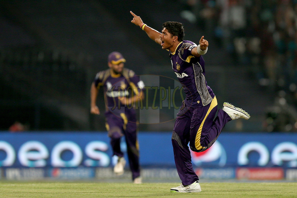 Umesh Yadav during the first qualifier match (QF1) of the Pepsi Indian Premier League Season VII 2014 between the Kings XI Punjab and the Kolkata Knight Riders held at Eden Gardens Cricket Stadium, Kolkata, India on the 28th May 2014. Photo by Jacques Rossouw / IPL / SPORTZPICS<br /> <br /> <br /> <br /> Image use subject to terms and conditions which can be found here:  http://sportzpics.photoshelter.com/gallery/Pepsi-IPL-Image-terms-and-conditions/G00004VW1IVJ.gB0/C0000TScjhBM6ikg