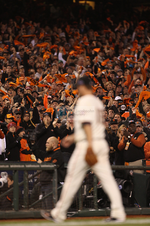 Matt Cain of the San Francisco Giants against the St. Louis Cardinals during Game Seven of the National League Championship Series at AT&T Park on October 22, 2012 in San Francisco, California.  (photo by Jed Jacobsohn)