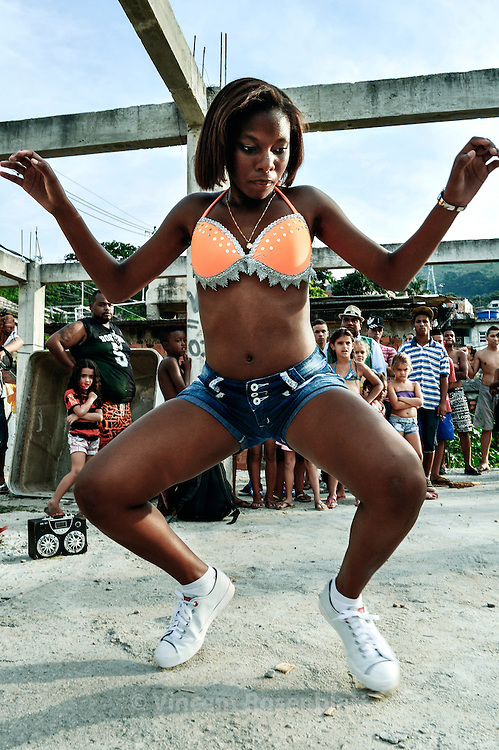 "Shaiene Bastos, leader of the ""Malvadas"" (naughties) girls band, from the Oteiro favela, in the Complexo do Lins, Zona Norte of Rio de Janeiro."