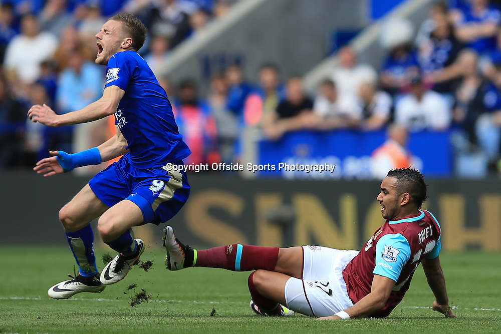 17 April 2016 - Barclays Premier League - Leicester City v West Ham United - Dimitri Payet of West Ham is shown a yellow card for this tackle on Jamie Vardy of Leicester City - Photo: Marc Atkins / Offside.