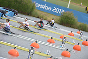 Eton Dorney, Windsor, Great Britain,..2012 London Olympic Regatta, Dorney Lake. Eton Rowing Centre, Berkshire[ Rowing]...Men's Single scull Start GER M1X, GBR M1X AZE M1X.   Dorney Lake. 11:11:01  Tuesday  11:11:01   [Mandatory Credit: Peter Spurrier/Intersport Images].