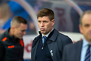 Steven Gerrard, manager of Rangers FC looks pensive before the Europa League Play Off leg 2 of 2 match between Rangers FC and Legia Warsaw at Ibrox Stadium, Glasgow, Scotland on 29 August 2019.