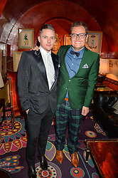 Left to right, SCOTT NEAL and ALAN CARR at an intimate performance by Jessie Ware at Annabel's, Berkeley Square, London on 20th April 2016.