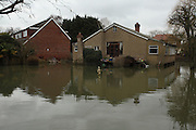 Flooded homes in Wraysbury near Staines. Flood waters remain high after last weeks flooding across the Thames valley. UK<br />