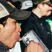 2015 Gelande Quaff competitors spill beer as the quaff down round after round of PBR.