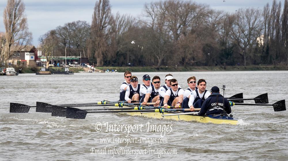 Putney, London, Pre Boat Race Fixture, <br /> <br /> Oxford University Boat Club {OUBC}v [Mandatory Credit; odd-stock.com]<br /> <br /> Oxford<br />  Brookes University over the River Thames, Championship Course Putney to Mortlake, Sunday 26/02/2017. [Mandatory Credit; Patrick White/Intersport-images]<br /> <br /> Oxford on Surrey, Crew, Bow William Warr, 2 Matthew O'Leary, 3 Oliver Cook, 4 Josh Bugajski, 5 Olivier Siegelaar, 6 Mike DiSanto, 7 James Cook, Stroke Vassilis Ragoussis, Cox Sam Collier.<br /> <br /> Oxford Brookes on Middlesex, Crew Bow Jamie Copus, 2 Robbie Massey, 3 Richard Hawkins, 4 Rory Gibbs, 5 Michael Glover, 6 Morgan Bolding, 7 Henry Swarbrick, Stroke Jamie Stanhope, Cox Harry Brightmore.