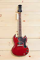 Mahogany guitar with label