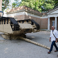 "VENICE, ITALY - MAY 31:  Installation ""Track and Field"" consisting of a 60-ton overturn military tank byJ Allora and G Calzadilla in front of the US Pavilion at the Giardini Biennale on May 31, 2011 in Venice, Italy. This year's Biennale, the 54th edition, will  officially open  on Saturday June 4th, after several days of press previews, and will run until 27 November"