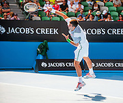 Novak Djokovic(SRB) faced Italian tennis bad boy F. Fognini in day seven of the 2014 Australian Open in Melbourne. Djokovic won over Fognini 3-6, 0-6, 2-6.