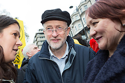 © Licensed to London News Pictures. 29/11/2015. London, UK. JEREMY CORBYN joins protesters to take part in the People's March for Climate, Justice and Jobs in central London. Marchers are calling for world leaders take further measures to combat climate change and environmental issues. Demonstrations are taking place around the globe today to demand United Nations action against climate change, calling on world leaders to cease political posturing and commit to a concrete international plan for people affected by climate change at the UN Paris Climate Change Summit. Photo credit : Vickie Flores/LNP